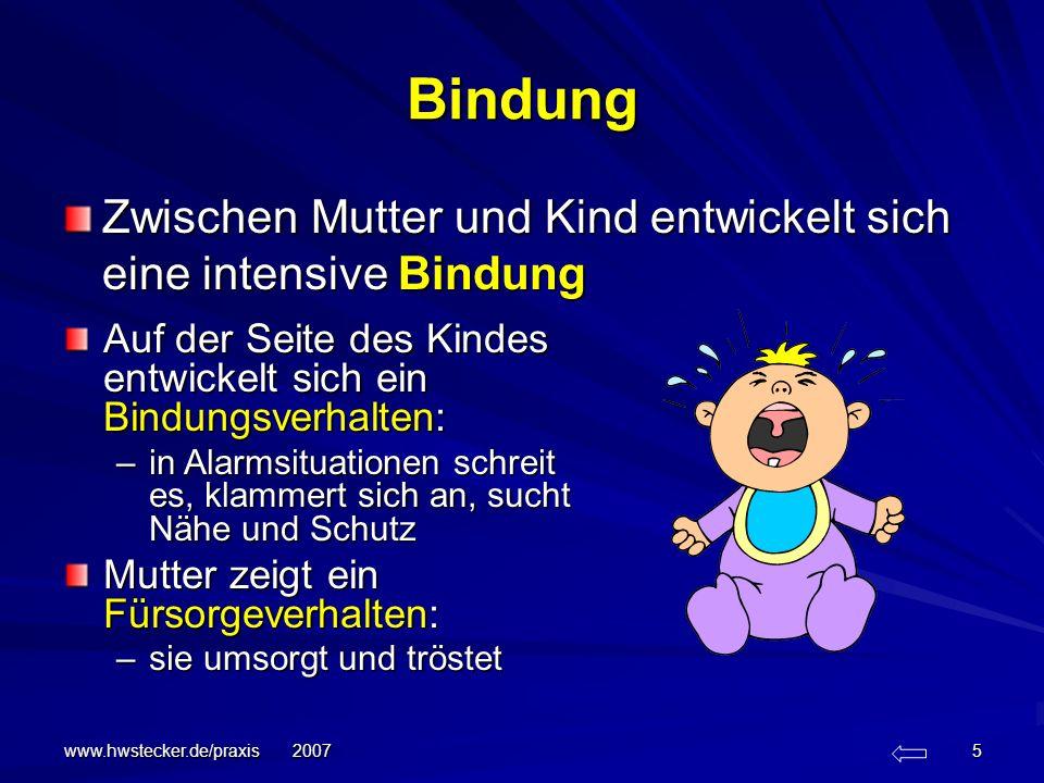 Bindung Zwischen Mutter und Kind entwickelt sich eine intensive Bindung. Auf der Seite des Kindes entwickelt sich ein Bindungsverhalten: