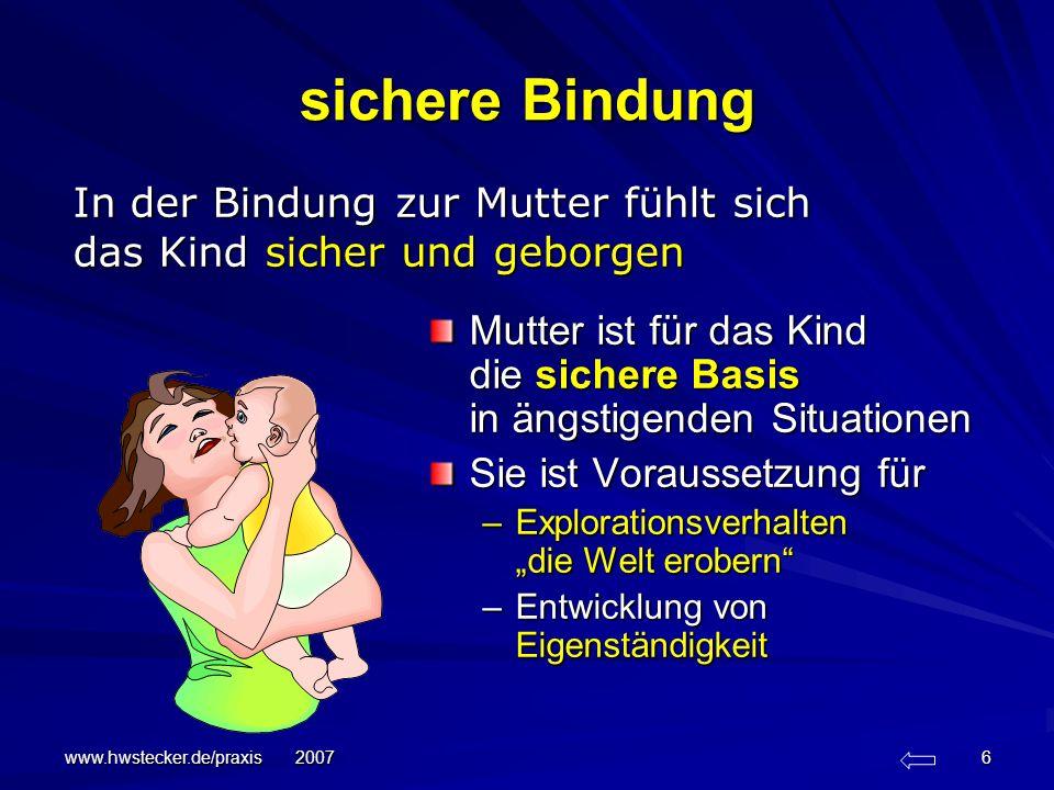 sichere Bindung In der Bindung zur Mutter fühlt sich das Kind sicher und geborgen.