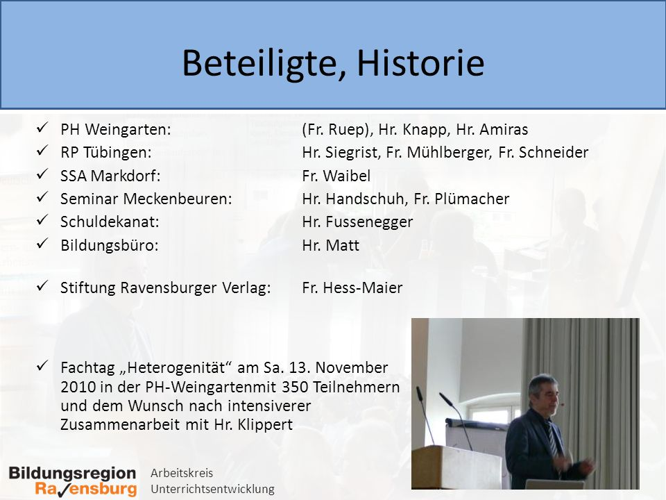 Beteiligte, Historie PH Weingarten: (Fr. Ruep), Hr. Knapp, Hr. Amiras