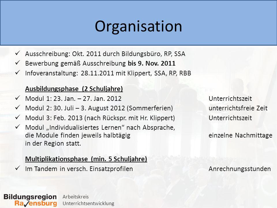 Organisation Ausschreibung: Okt. 2011 durch Bildungsbüro, RP, SSA