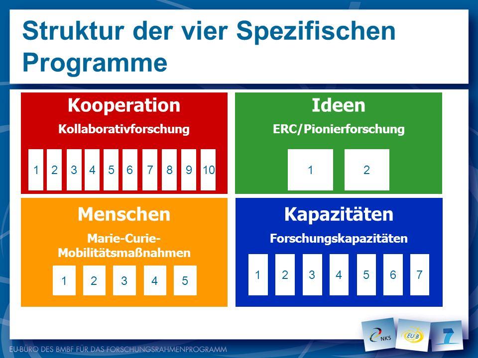 Struktur der vier Spezifischen Programme