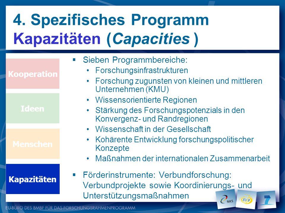 4. Spezifisches Programm Kapazitäten (Capacities )
