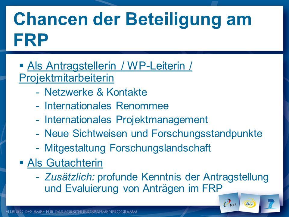 Chancen der Beteiligung am FRP