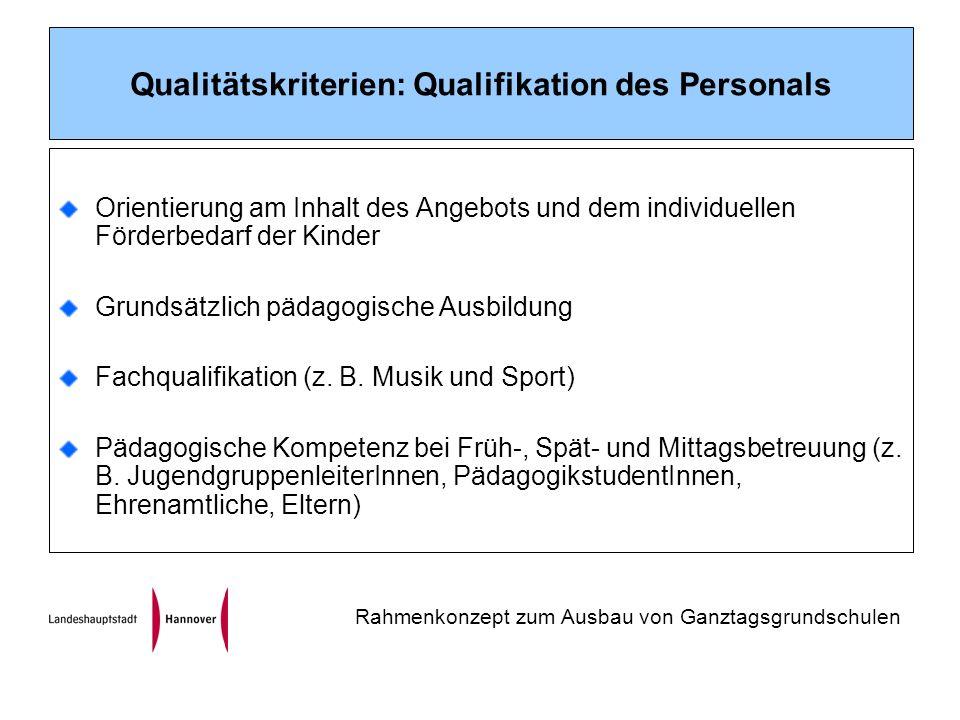 Qualitätskriterien: Qualifikation des Personals