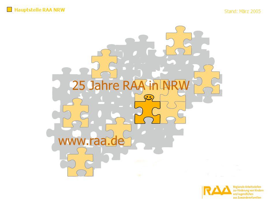 Hauptstelle RAA NRW Stand: März 2005 25 Jahre RAA in NRW www.raa.de