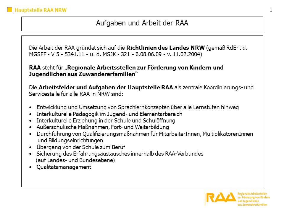 Aufgaben und Arbeit der RAA