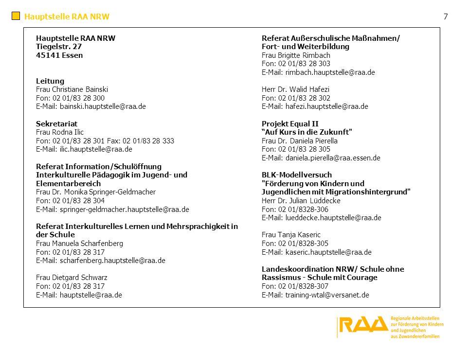 Hauptstelle RAA NRW 7 Referat Außerschulische Maßnahmen/