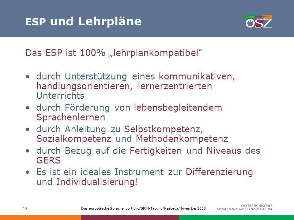 """ESP und Lehrpläne Das ESP ist 100% """"lehrplankompatibel"""