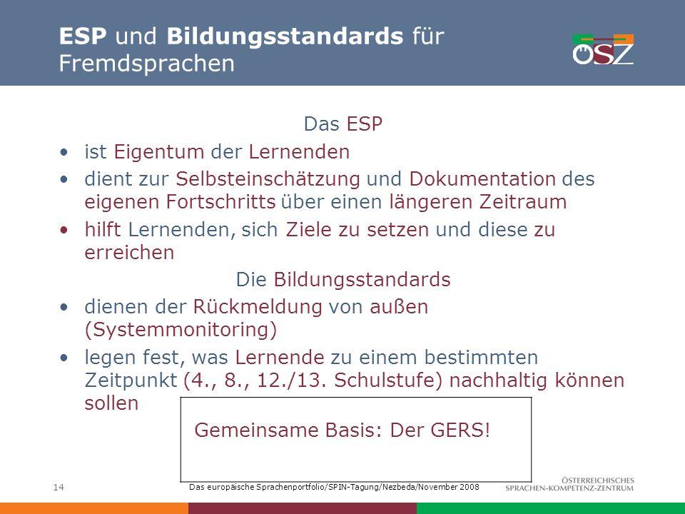 ESP und Bildungsstandards für Fremdsprachen