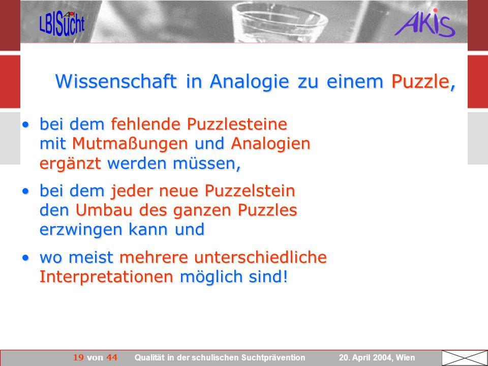 Wissenschaft in Analogie zu einem Puzzle,