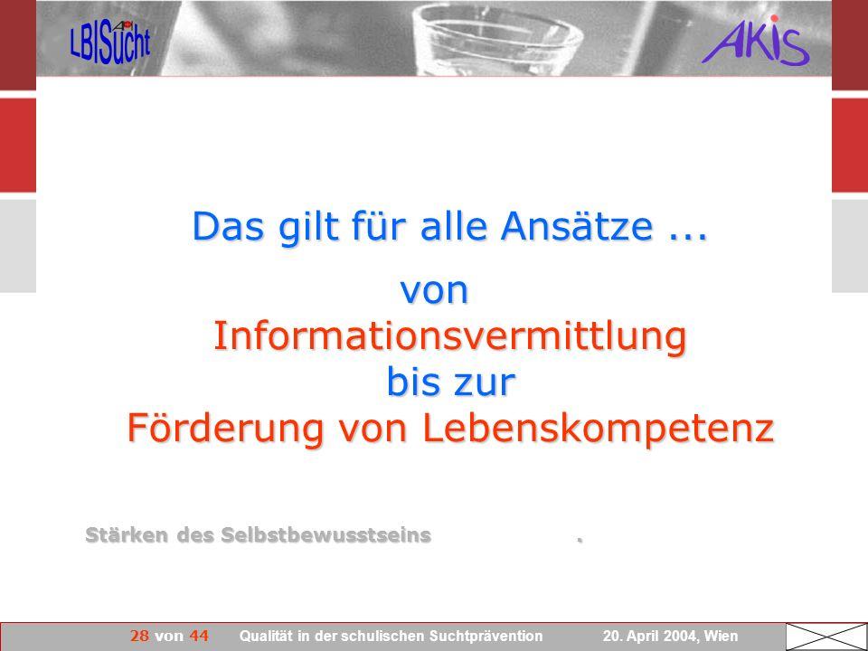von Informationsvermittlung bis zur Förderung von Lebenskompetenz