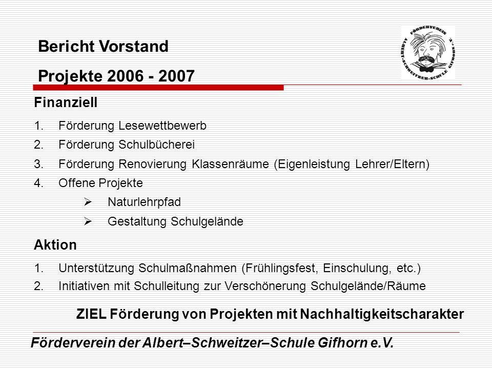 Bericht Vorstand Projekte 2006 - 2007 Finanziell Aktion