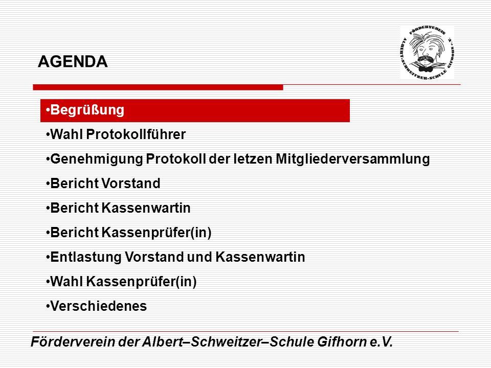 AGENDA Begrüßung Wahl Protokollführer