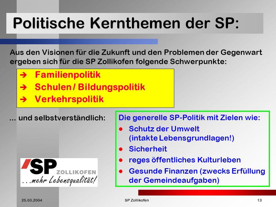 Politische Kernthemen der SP: