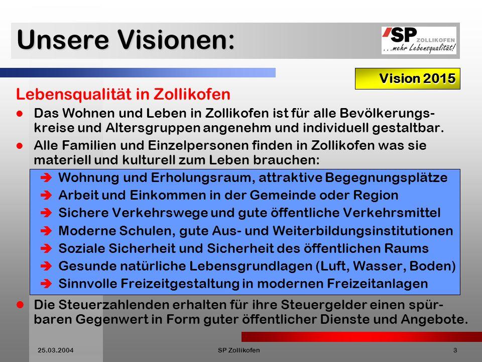 Unsere Visionen: Lebensqualität in Zollikofen Vision 2015