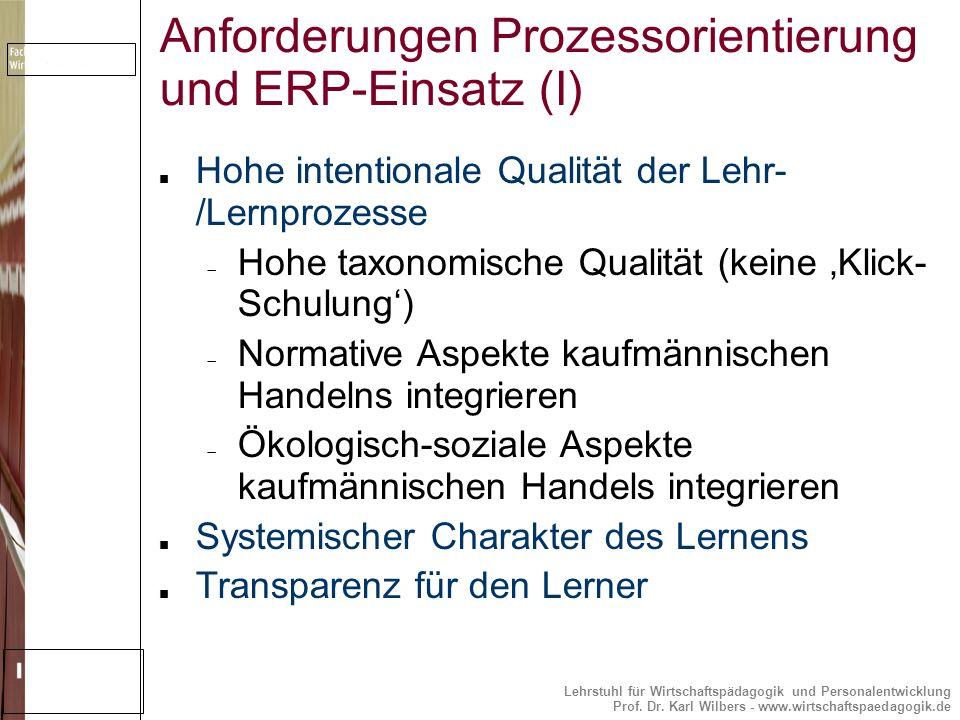 Anforderungen Prozessorientierung und ERP-Einsatz (I)