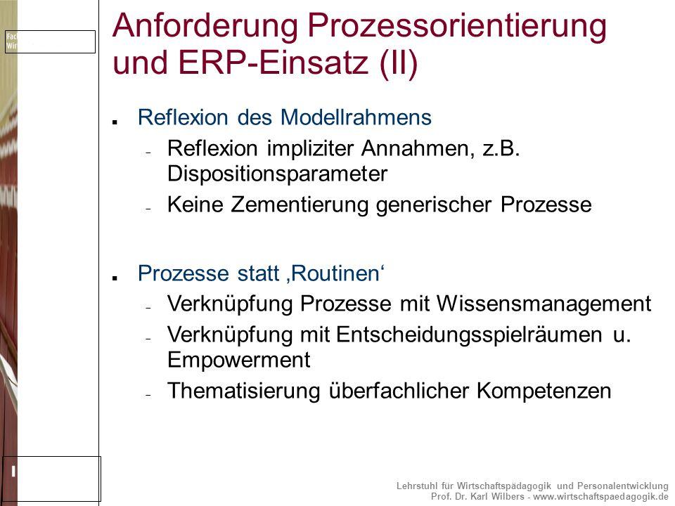 Anforderung Prozessorientierung und ERP-Einsatz (II)