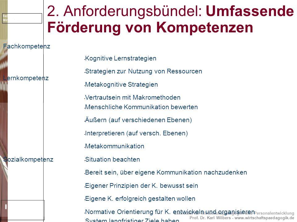2. Anforderungsbündel: Umfassende Förderung von Kompetenzen