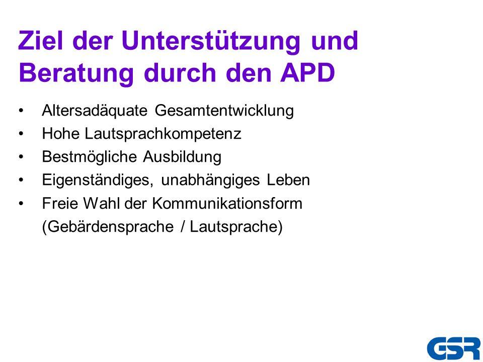 Ziel der Unterstützung und Beratung durch den APD