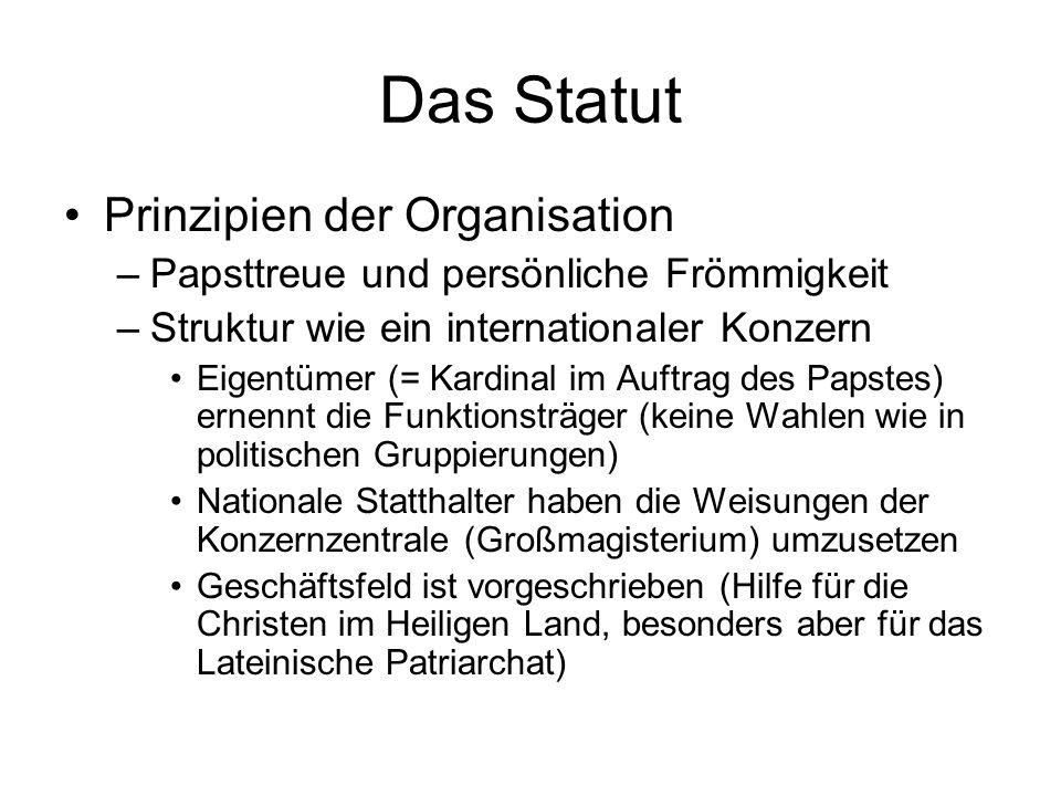 Das Statut Prinzipien der Organisation