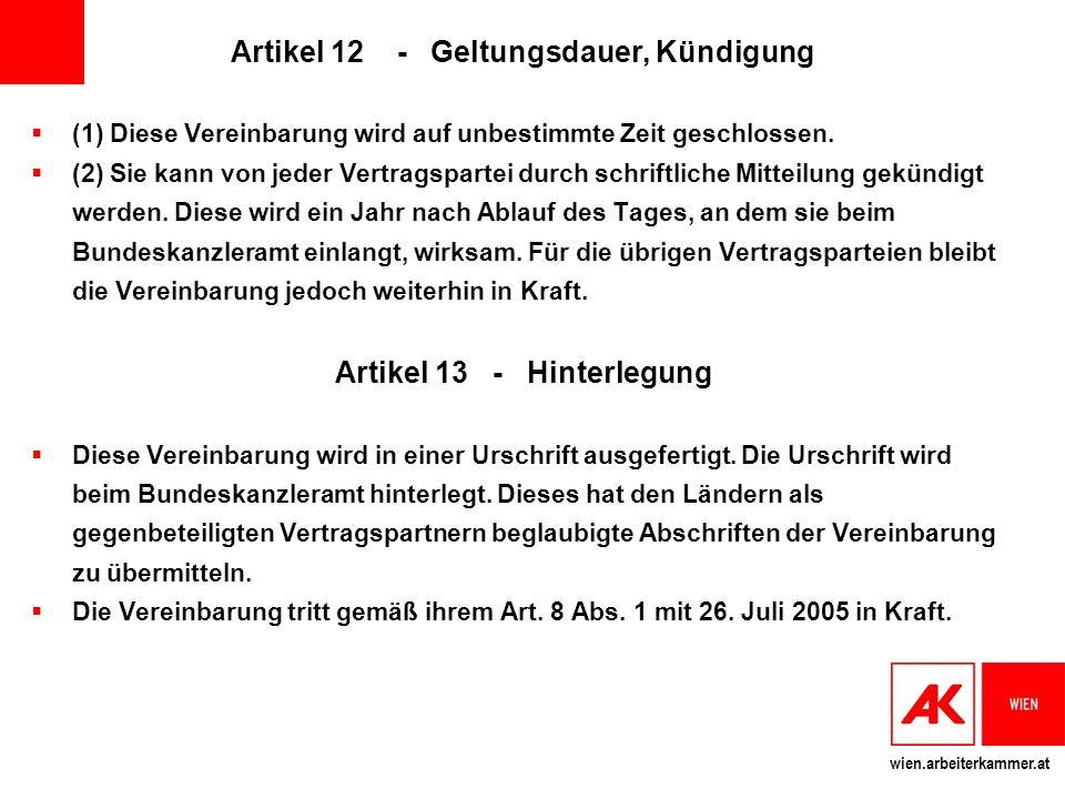 Artikel 12 - Geltungsdauer, Kündigung Artikel 13 - Hinterlegung