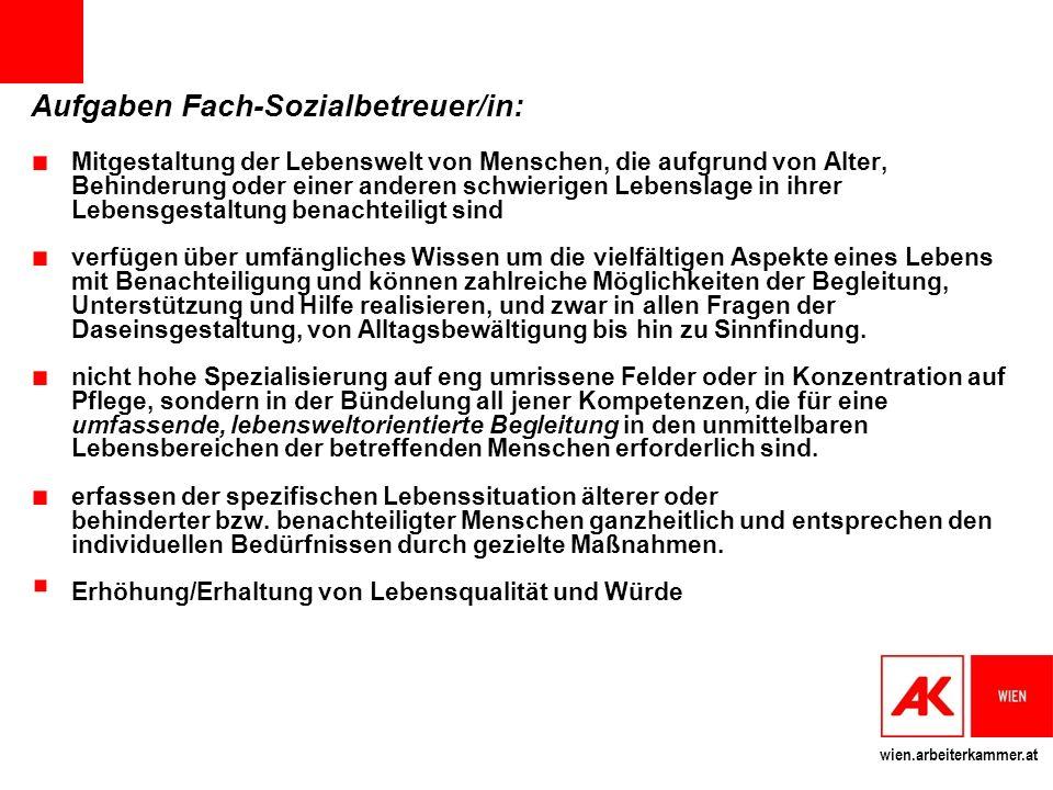 Aufgaben Fach-Sozialbetreuer/in: