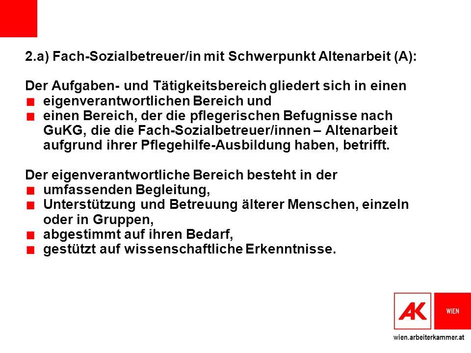 2.a) Fach-Sozialbetreuer/in mit Schwerpunkt Altenarbeit (A):