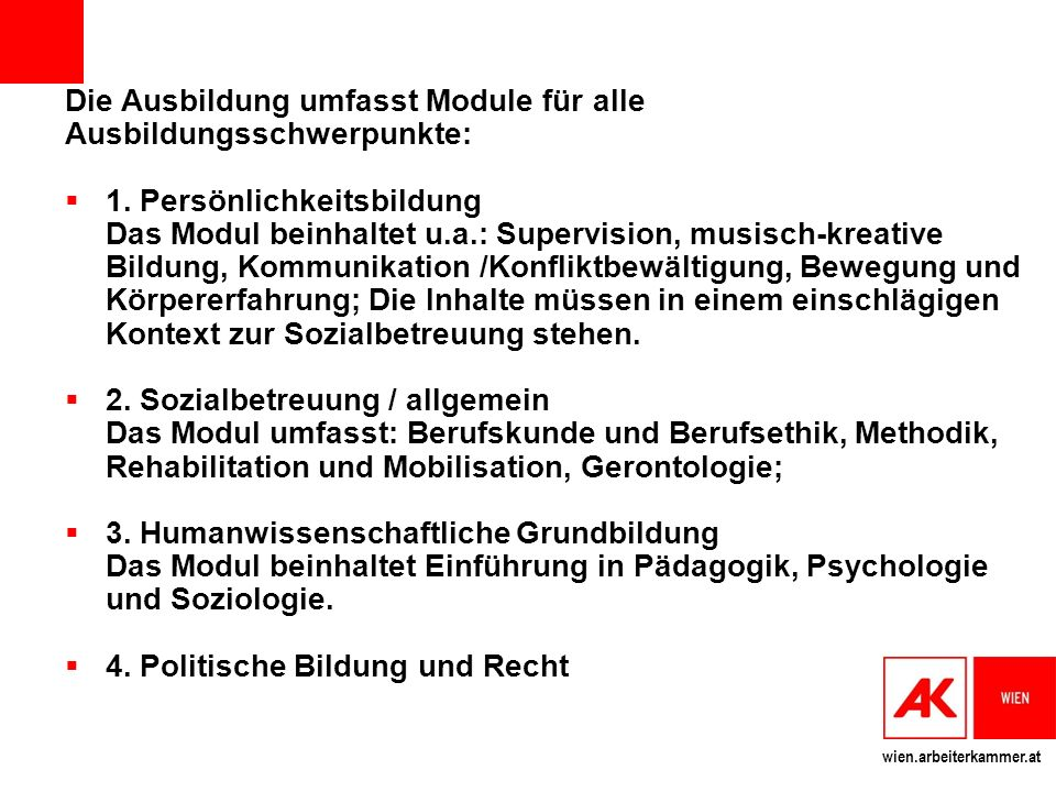 Die Ausbildung umfasst Module für alle Ausbildungsschwerpunkte: