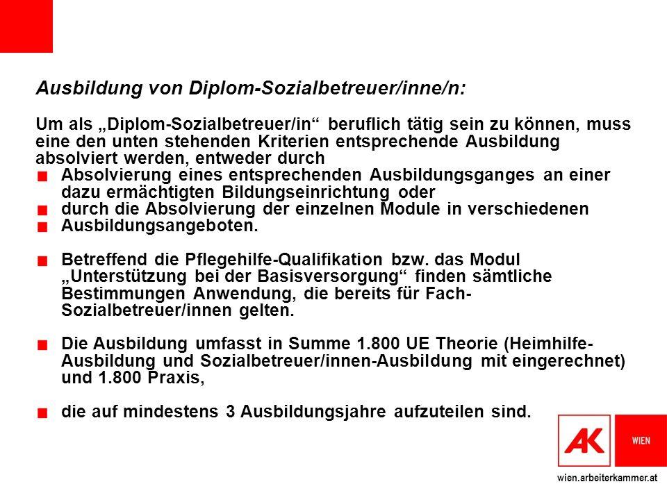 Ausbildung von Diplom-Sozialbetreuer/inne/n: