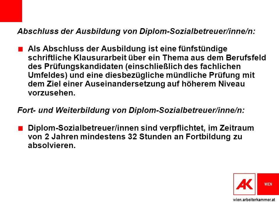 Abschluss der Ausbildung von Diplom-Sozialbetreuer/inne/n: