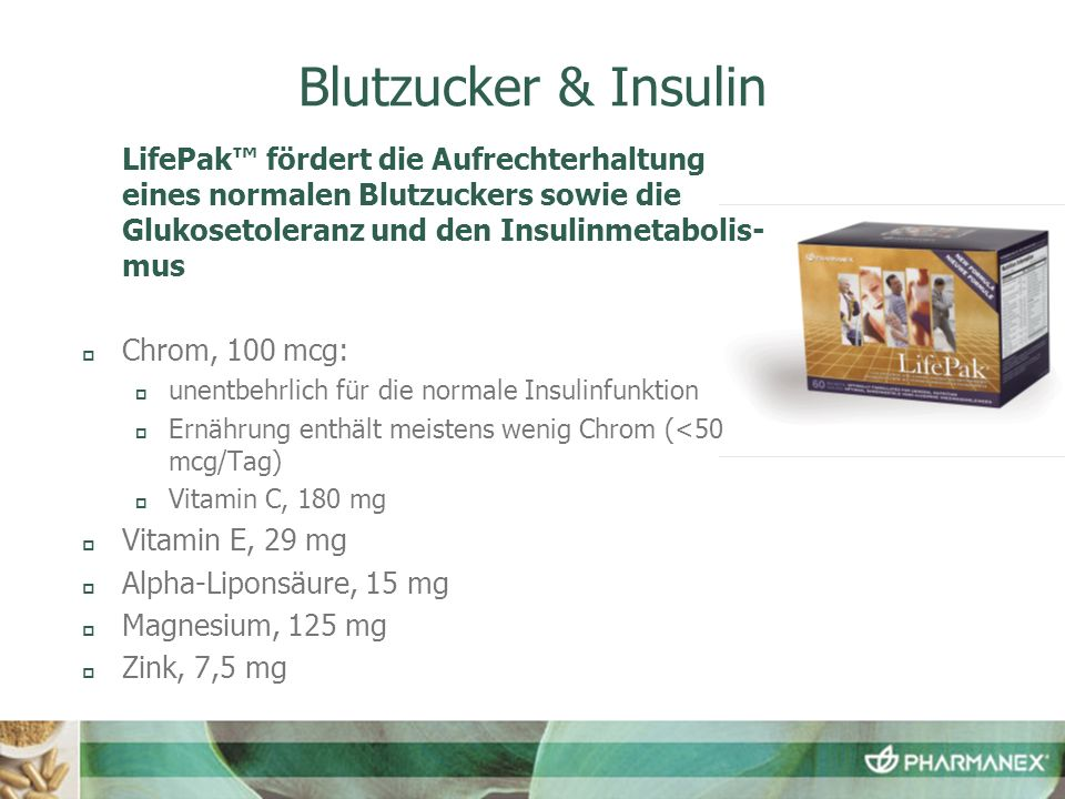 Blutzucker & Insulin LifePak™ fördert die Aufrechterhaltung eines normalen Blutzuckers sowie die Glukosetoleranz und den Insulinmetabolis-mus.