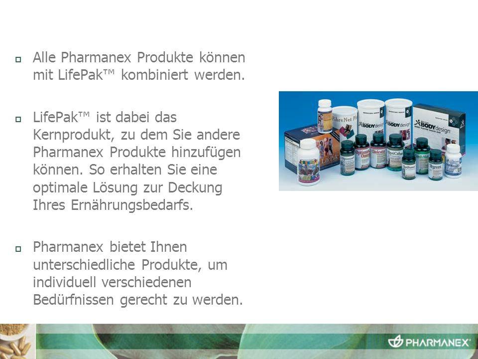 Alle Pharmanex Produkte können mit LifePak™ kombiniert werden.