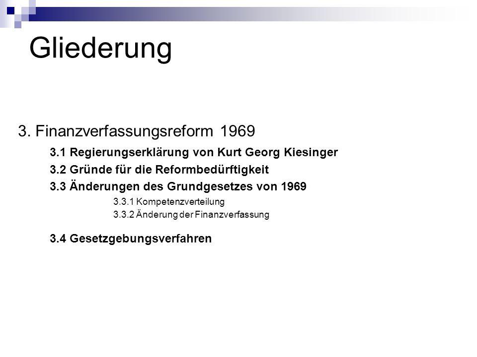 Gliederung 3.4 Gesetzgebungsverfahren 3. Finanzverfassungsreform 1969