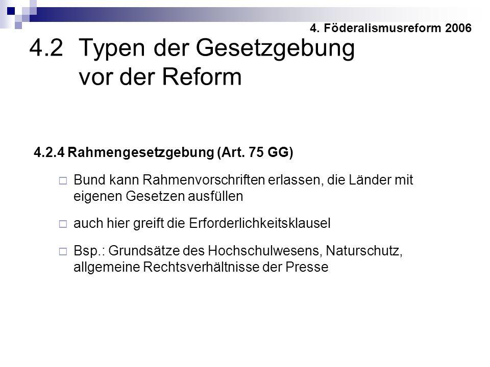 4.2 Typen der Gesetzgebung vor der Reform