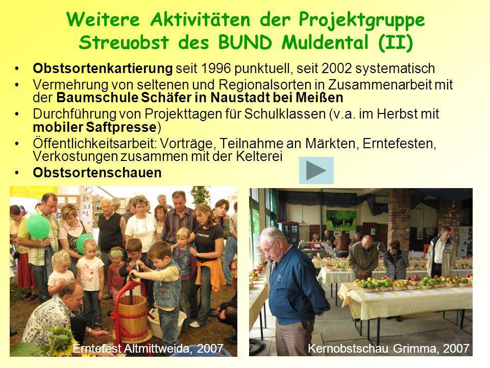 Weitere Aktivitäten der Projektgruppe Streuobst des BUND Muldental (II)
