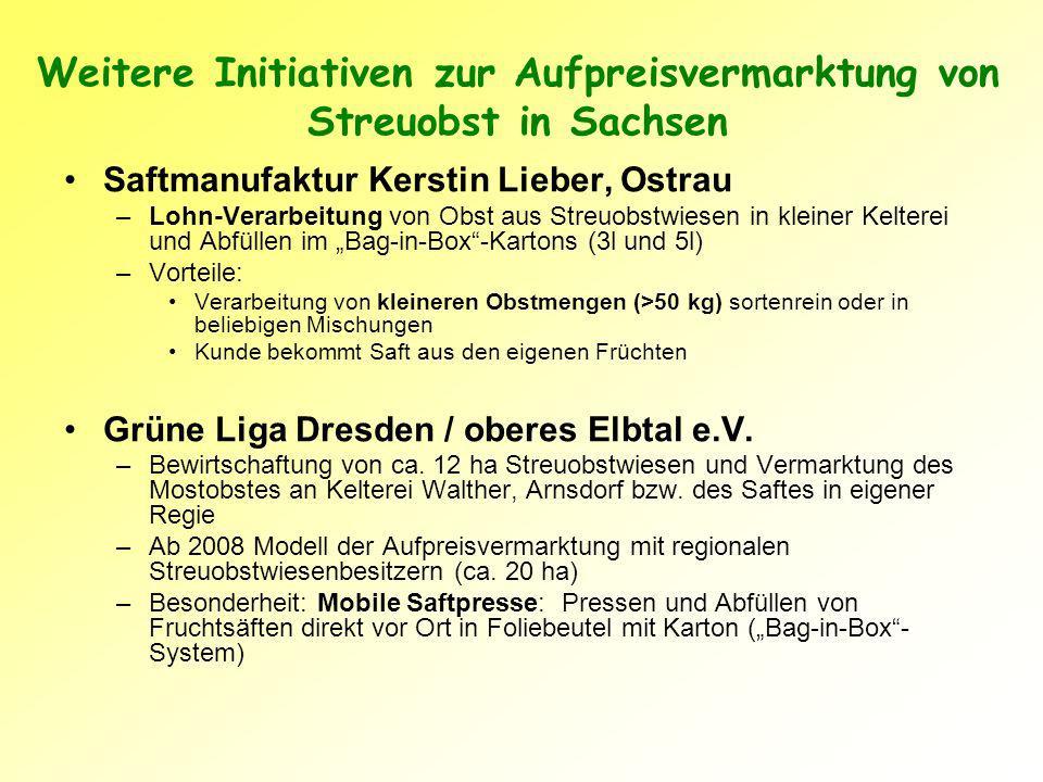 Weitere Initiativen zur Aufpreisvermarktung von Streuobst in Sachsen