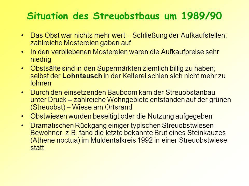 Situation des Streuobstbaus um 1989/90