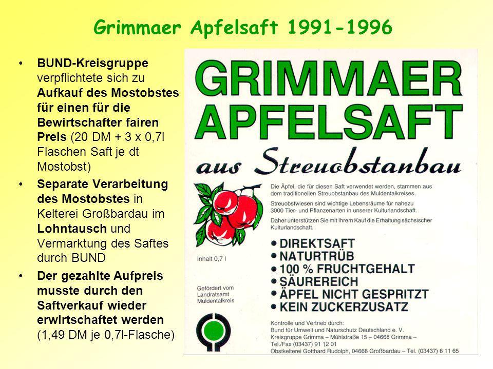 Grimmaer Apfelsaft 1991-1996
