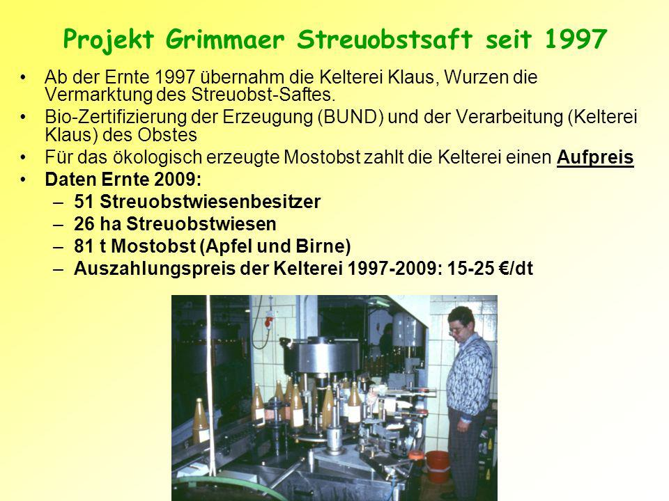 Projekt Grimmaer Streuobstsaft seit 1997
