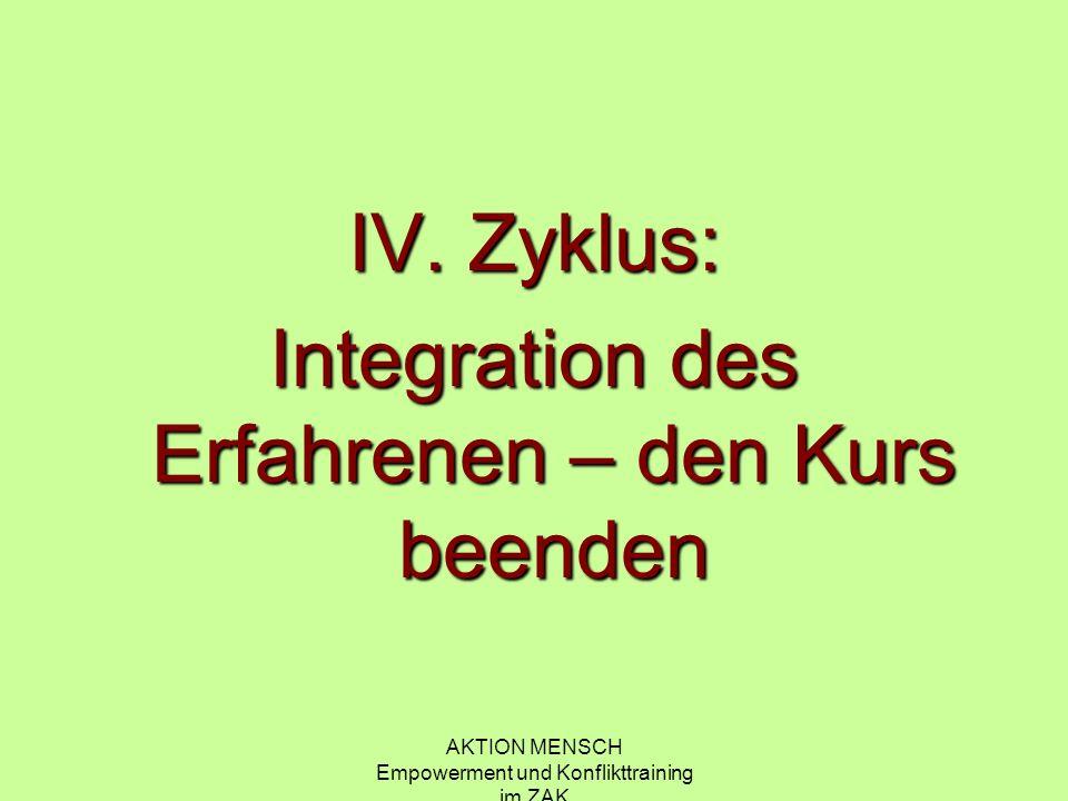 Integration des Erfahrenen – den Kurs beenden