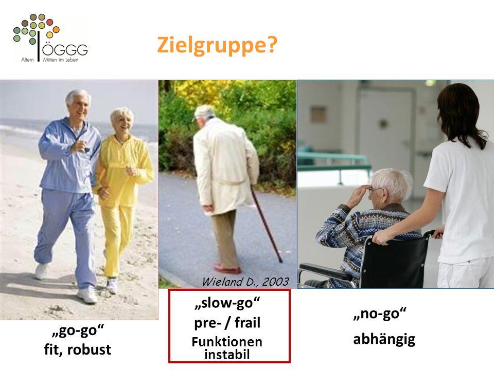 """Zielgruppe """"no-go abhängig """"go-go fit, robust """"slow-go"""