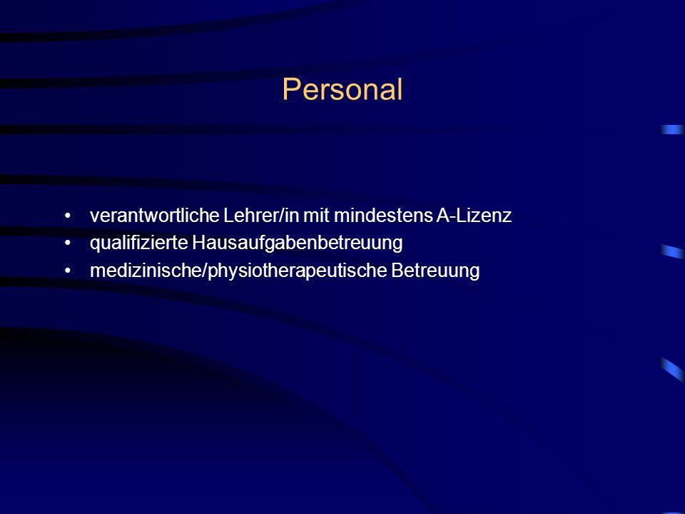 Personal verantwortliche Lehrer/in mit mindestens A-Lizenz