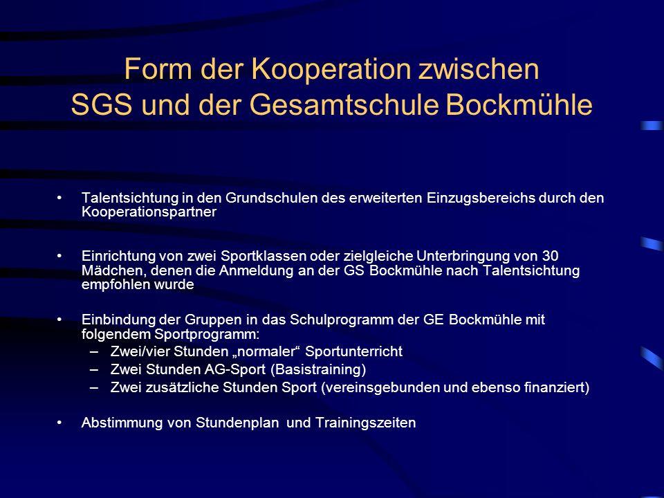 Form der Kooperation zwischen SGS und der Gesamtschule Bockmühle