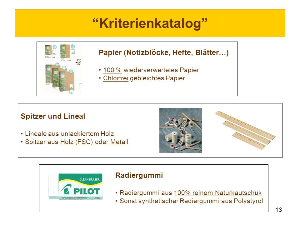 Kriterienkatalog Papier (Notizblöcke, Hefte, Blätter…)
