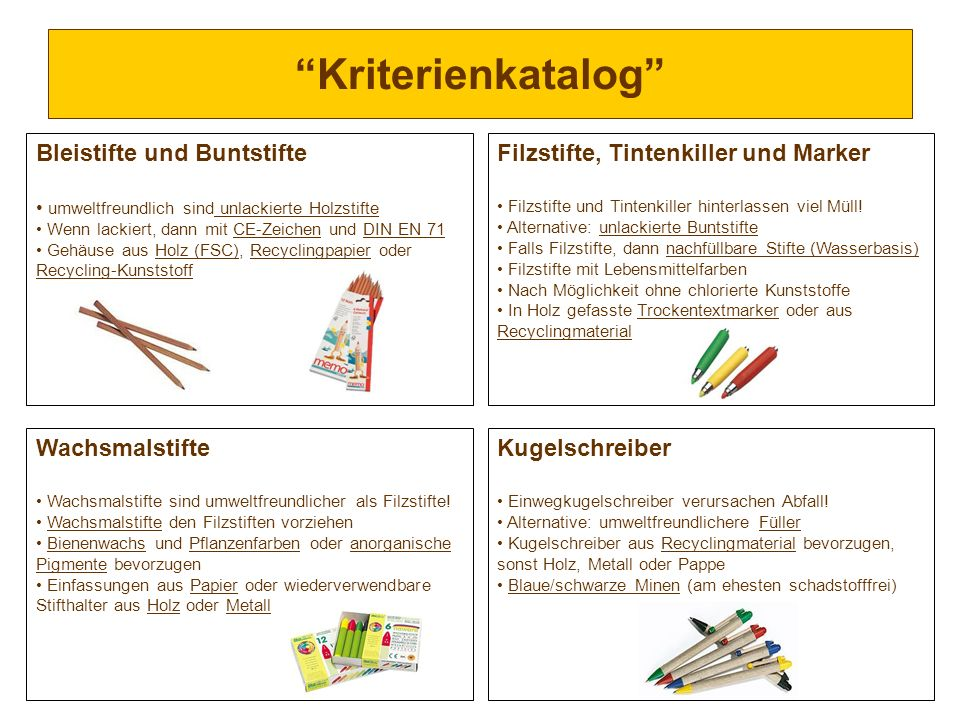 Kriterienkatalog Bleistifte und Buntstifte