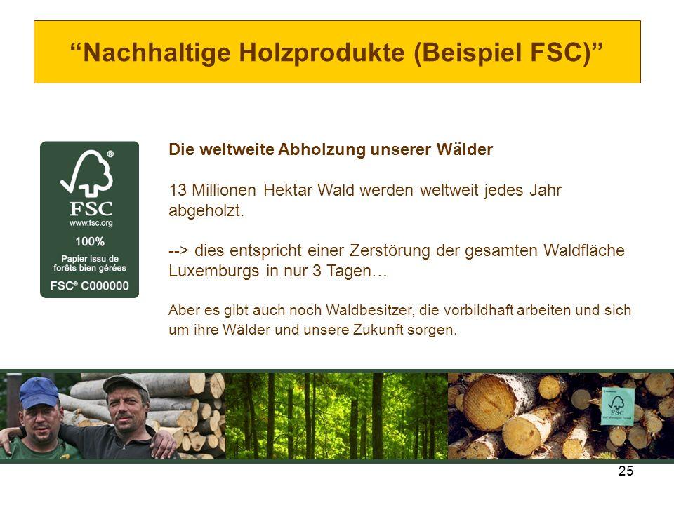 Nachhaltige Holzprodukte (Beispiel FSC)