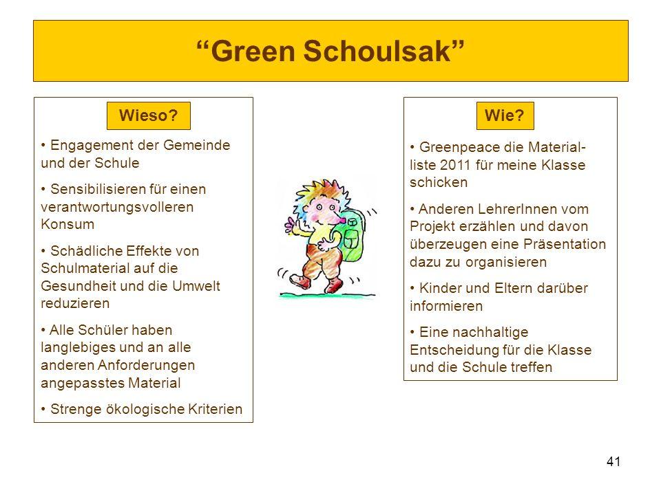 Green Schoulsak Wieso Wie Engagement der Gemeinde und der Schule