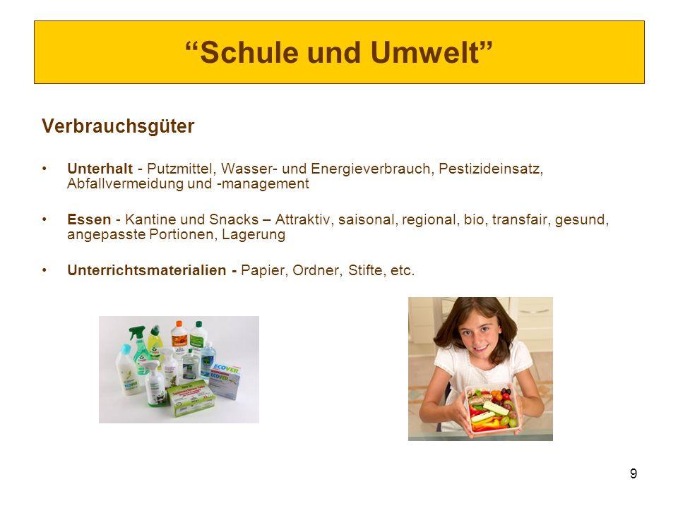 Schule und Umwelt Verbrauchsgüter