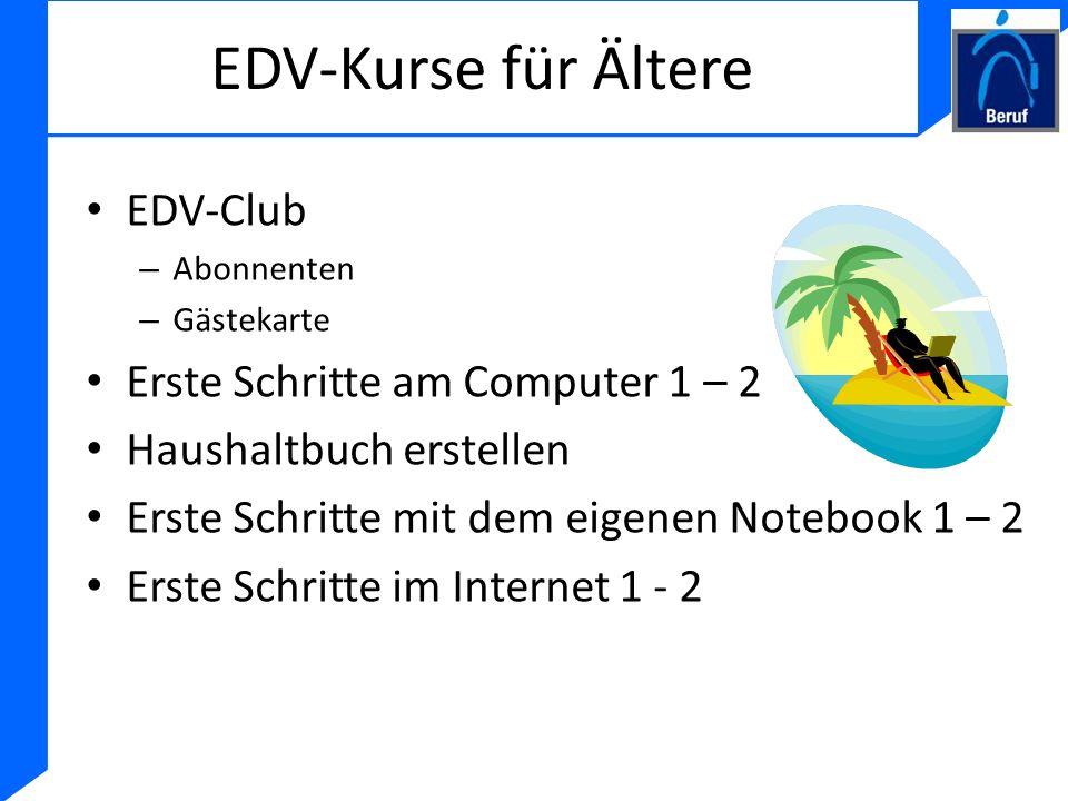 EDV-Kurse für Ältere EDV-Club Erste Schritte am Computer 1 – 2