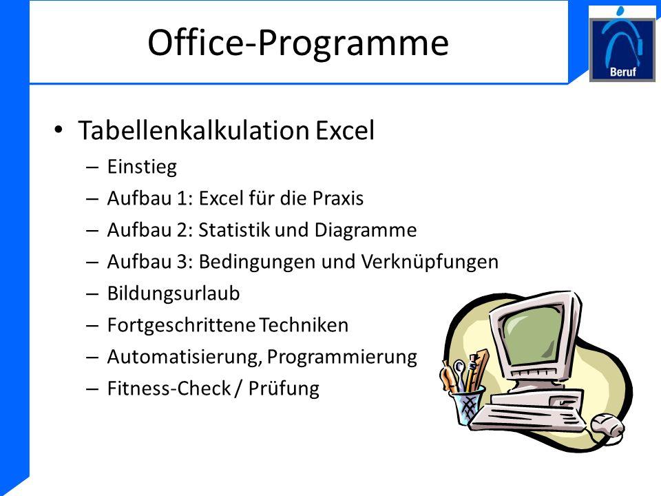 Office-Programme Tabellenkalkulation Excel Einstieg